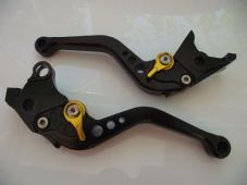 Suzuki GSX1400 (01-07), CNC levers short black/gold adjusters, F14/S14